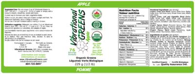 Vibrational Greens Apple Label