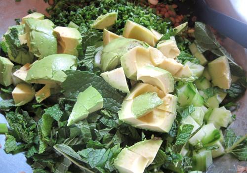 Lentil parsley cucumber avocado
