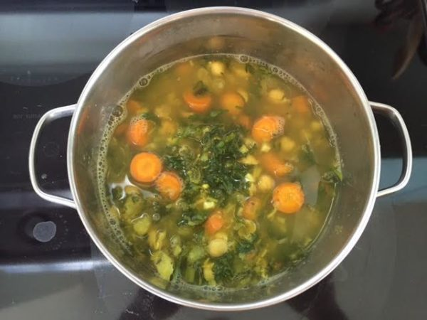Carrot Greens Soup simmering