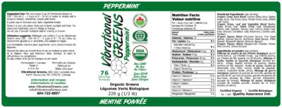 Vibrational Greens Peppermint label