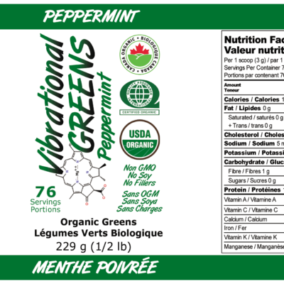 Vibrational Greens Peppermint label