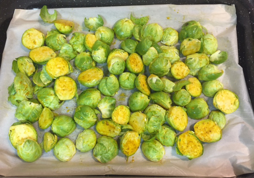 roasted brussel sprouts with no oil ready for roasting